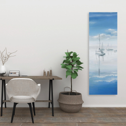 Canvas 20 x 60 - Sailboats on the quiet lake