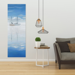 Canvas 20 x 60 - Two sailboats on the quiet lake