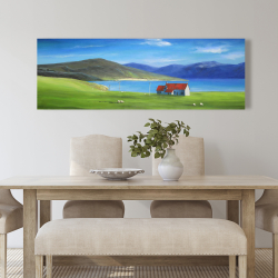 Canvas 20 x 60 - Scottish highlands with a little red roof house