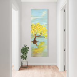 Canvas 20 x 60 - Spring lanscape with a tree in a lake