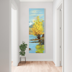 Canvas 20 x 60 - Lake landscape with a tree and reflection