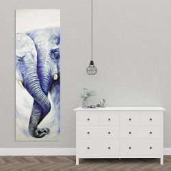 Canvas 20 x 60 - Elephant couple loving each other