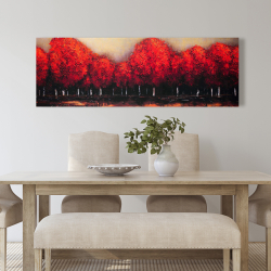 Canvas 20 x 60 - Red trees by a dark day