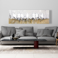 Canvas 20 x 60 - Abstract perched birds
