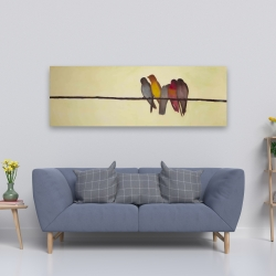 Canvas 20 x 60 - Five birds on a branch