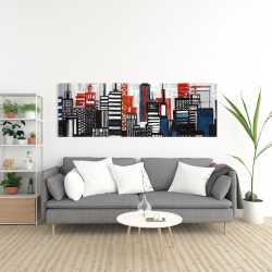 Canvas 20 x 60 - Geometric towers and buildings