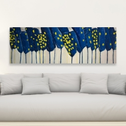 Canvas 20 x 60 - Abstract blue flowers