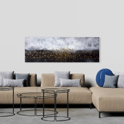 Canvas 20 x 60 - Gold paint splash on gray background