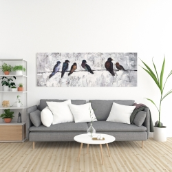 Canvas 20 x 60 - Colorful birds on branches