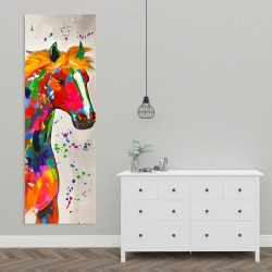 Canvas 20 x 60 - Abstract colorful horse with paint splash