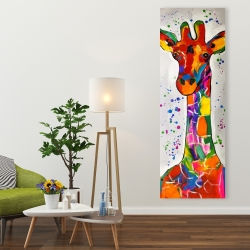 Canvas 20 x 60 - Abstract colorful giraffe with paint splash