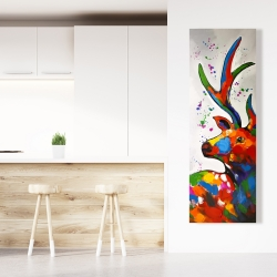 Canvas 20 x 60 - Abstract colorful deer with paint splash