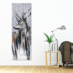 Canvas 20 x 60 - Deer in the forest by a rainy day