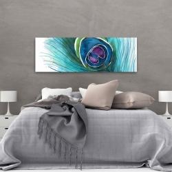 Canvas 20 x 60 - Peacock feather closeup
