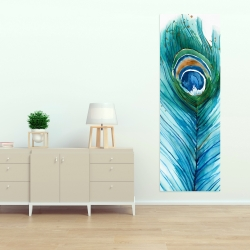 Canvas 20 x 60 - Long peacock feather