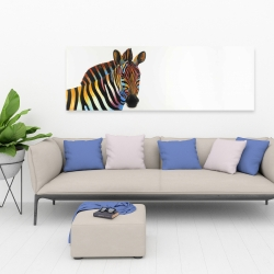Canvas 20 x 60 - Colorful profile view of a zebra
