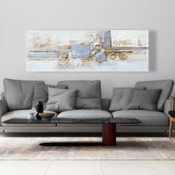 Canvas 20 x 60 - Abstract shape with metal looking finish