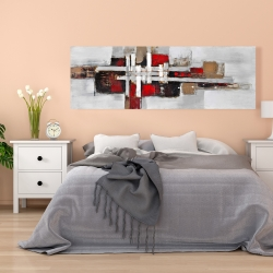 Canvas 20 x 60 - Abstract shapes with red accents