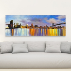 Canvas 20 x 60 - Colorful city with a bridge by day