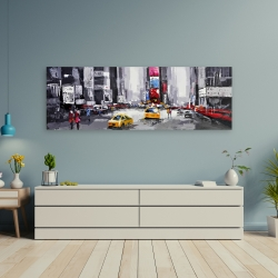 Canvas 20 x 60 - Abstract street with yellow taxis