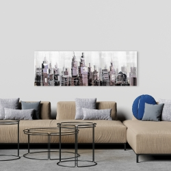 Canvas 20 x 60 - Abstract grayscale cityscape