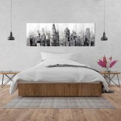 Toile 20 x 60 - Ville grise avec éclats de peinture