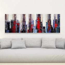 Canvas 20 x 60 - Abstract red and blue buildings