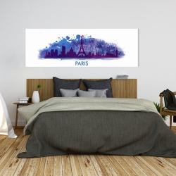 Canvas 20 x 60 - Paint splash silhouette of paris