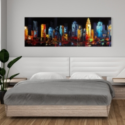 Toile 20 x 60 - Paysage urbain abstrait et coloré sur fond sombre