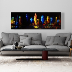 Canvas 20 x 60 - Colorful buildings on a dark background