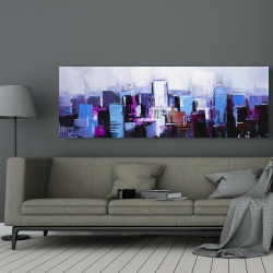 Canvas 20 x 60 - Abstract blue & purple city