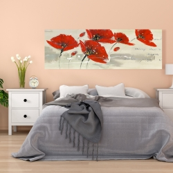 Canvas 20 x 60 - Abstract red flowers in the wind