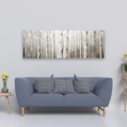 Canvas 20 x 60 - White birches on gray background