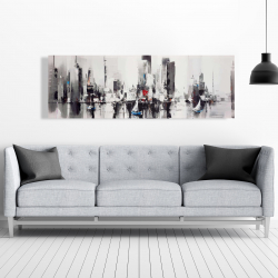 Canvas 20 x 60 - Abstract boats with cityscape