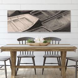 Canvas 20 x 60 - Small canoes of style sepia
