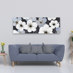 Canvas 20 x 60 - White flowers with leaves outlines