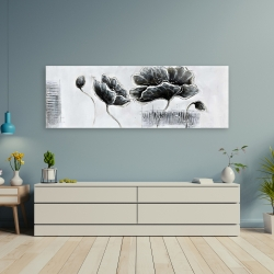 Canvas 20 x 60 - Industrial style grayscale flowers