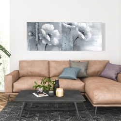Canvas 20 x 60 - Peaceful black & white flowers