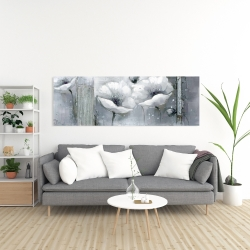 Canvas 20 x 60 - Grayscale flowers