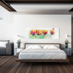 Canvas 20 x 60 - Four colorful flowers