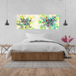 Canvas 20 x 60 - Abstract squares flowers