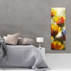 Canvas 20 x 60 - Texturized yellow flowers