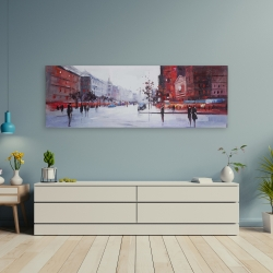 Canvas 20 x 60 - Black and red street scene