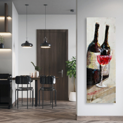 Canvas 20 x 60 - Two bottles with a glass of wine