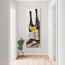 Canvas 20 x 60 - Two bottles with a glass of white wine