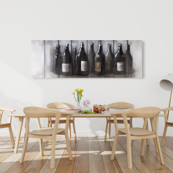 Canvas 20 x 60 - Bottles of wine with wood finish