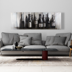 Canvas 20 x 60 - Bottles of wine on wood