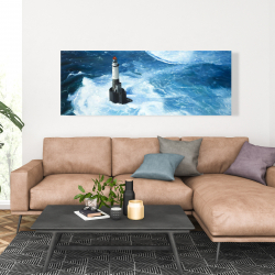 Canvas 20 x 60 - Unleashed waves on a lighthouse