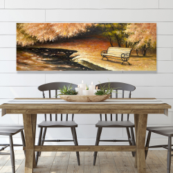 Canvas 20 x 60 - Park bench by fall