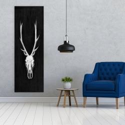 Canvas 20 x 60 - Deer skull on black background
